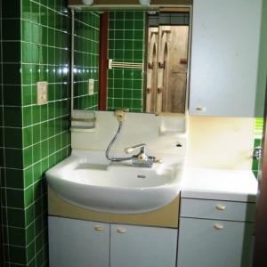 レンガ壁の大きな家 洗面台