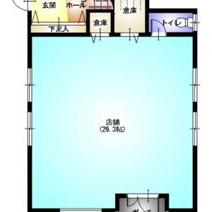 店舗付住宅 in HAMBY!  1F:平面図