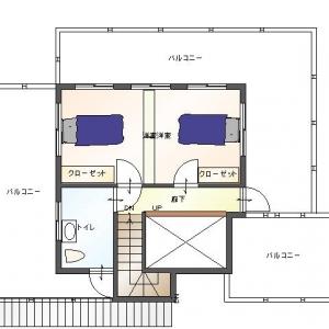 レンガ壁の大きな家 リフォームプラン平面図:2F