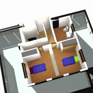 レンガ壁の大きな家 リフォームプランパース:2F②