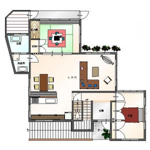 レンガ壁の大きな家 リフォームプラン平面図:1F