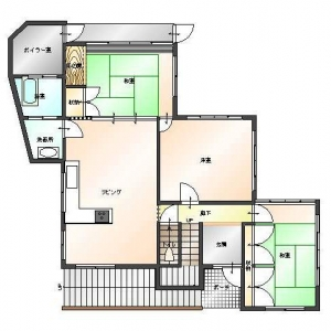 レンガ壁の大きな家  1F:平面図